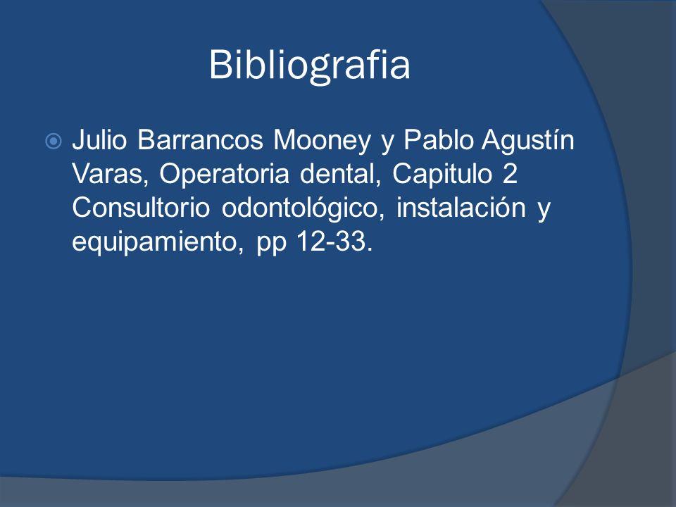Bibliografia Julio Barrancos Mooney y Pablo Agustín Varas, Operatoria dental, Capitulo 2 Consultorio odontológico, instalación y equipamiento, pp 12-3