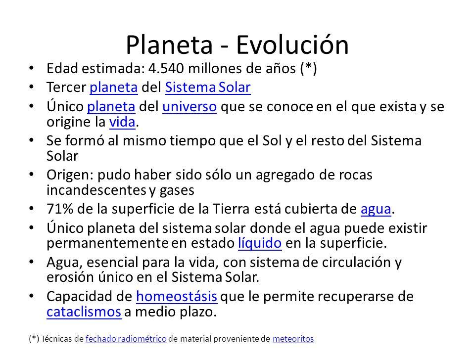 Planeta - Evolución Edad estimada: 4.540 millones de años (*) Tercer planeta del Sistema SolarplanetaSistema Solar Único planeta del universo que se c