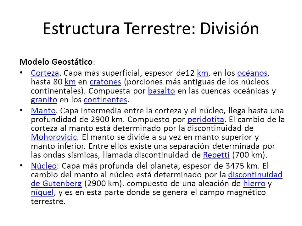 Estructura Terrestre: División Modelo Geostático: Corteza. Capa más superficial, espesor de12 km, en los océanos, hasta 80 km en cratones (porciones m