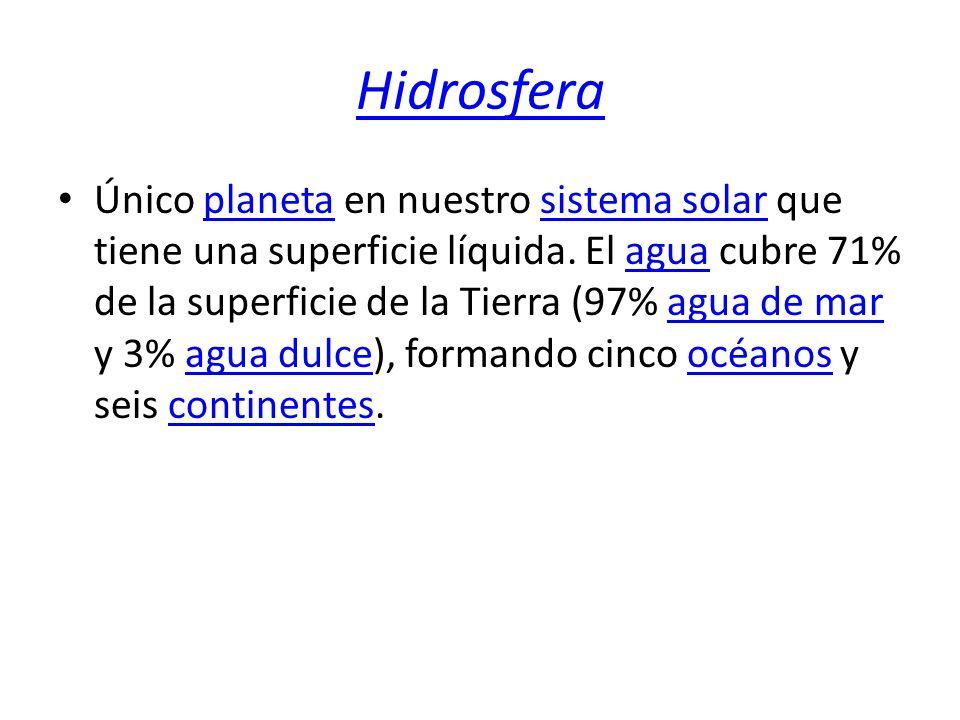 Hidrosfera Único planeta en nuestro sistema solar que tiene una superficie líquida. El agua cubre 71% de la superficie de la Tierra (97% agua de mar y