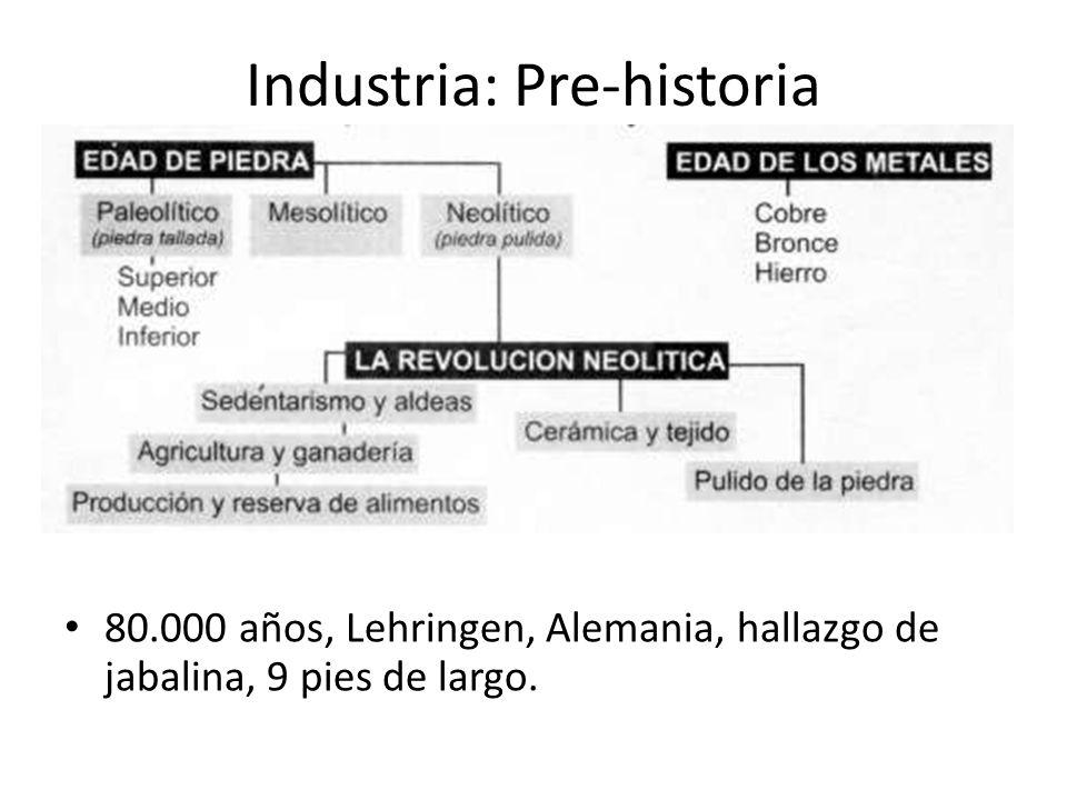 Industria: Pre-historia 80.000 años, Lehringen, Alemania, hallazgo de jabalina, 9 pies de largo.