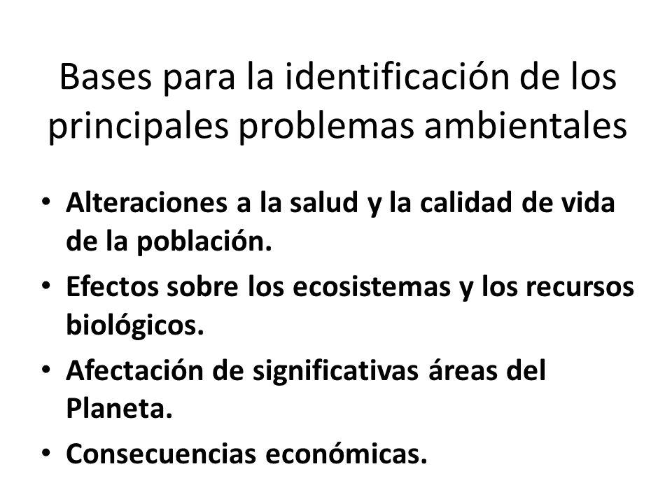 Bases para la identificación de los principales problemas ambientales Alteraciones a la salud y la calidad de vida de la población. Efectos sobre los
