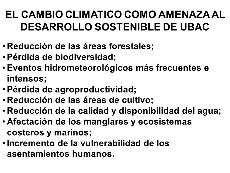 EL CAMBIO CLIMATICO COMO AMENAZA AL DESARROLLO SOSTENIBLE DE UBAC Reducción de las áreas forestales; Pérdida de biodiversidad; Eventos hidrometeorológ