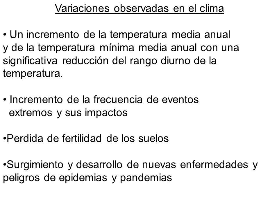 Variaciones observadas en el clima Un incremento de la temperatura media anual y de la temperatura mínima media anual con una significativa reducción