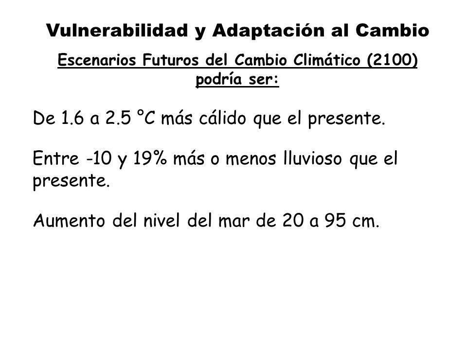 Vulnerabilidad y Adaptación al Cambio Escenarios Futuros del Cambio Climático (2100) podría ser: De 1.6 a 2.5 °C más cálido que el presente. Entre -10
