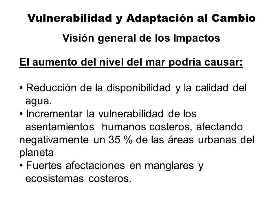 Vulnerabilidad y Adaptación al Cambio Visión general de los Impactos El aumento del nivel del mar podría causar: Reducción de la disponibilidad y la c
