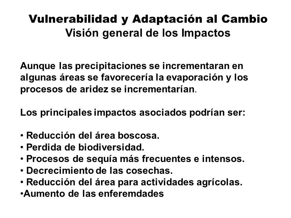 Vulnerabilidad y Adaptación al Cambio Visión general de los Impactos Aunque las precipitaciones se incrementaran en algunas áreas se favorecería la ev