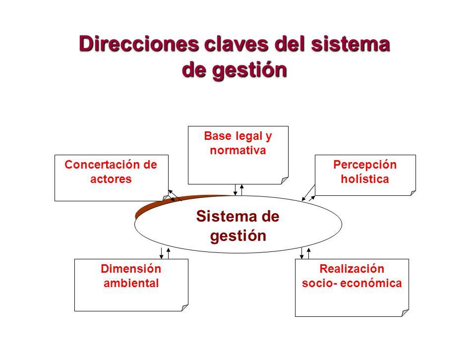 Sistema de gestión Base legal y normativa Concertación de actores Realización socio- económica Dimensión ambiental Percepción holística Direcciones cl