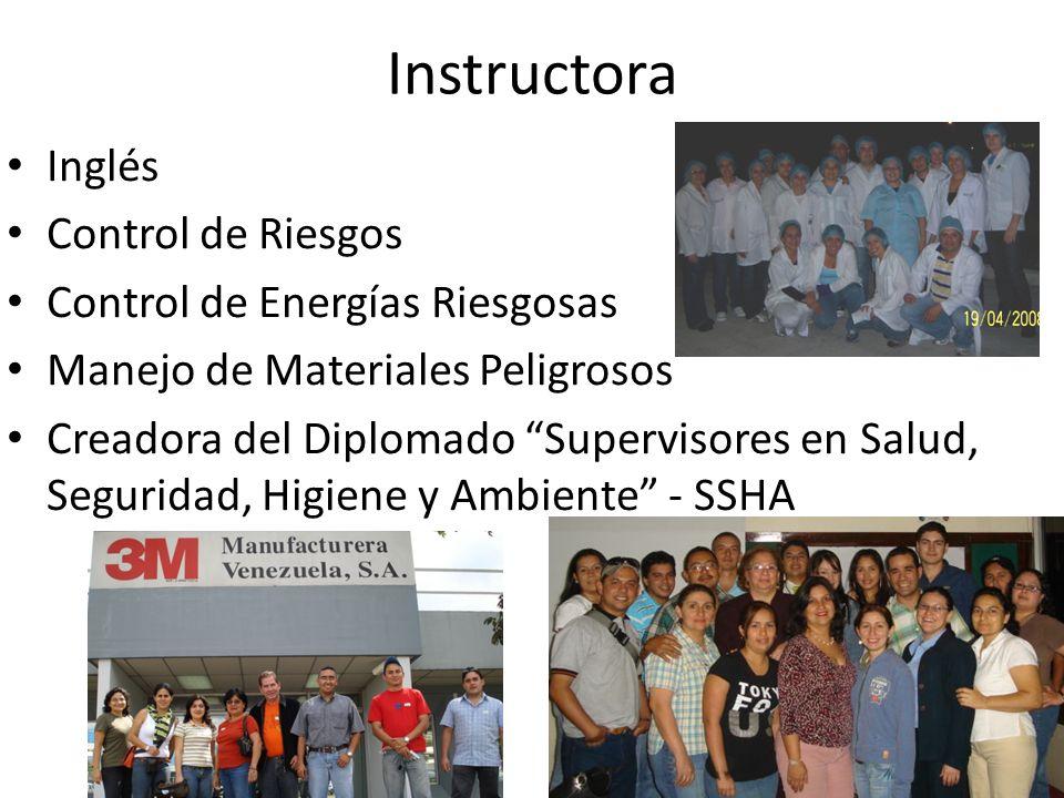 Instructora Inglés Control de Riesgos Control de Energías Riesgosas Manejo de Materiales Peligrosos Creadora del Diplomado Supervisores en Salud, Segu