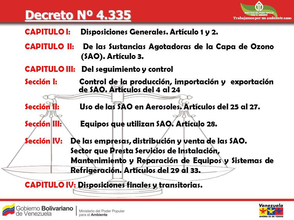 Trabajamos por un ambiente sano Decreto Nº 4.335 CAPITULO I: Disposiciones Generales. Artículo 1 y 2. CAPITULO II: De las Sustancias Agotadoras de la