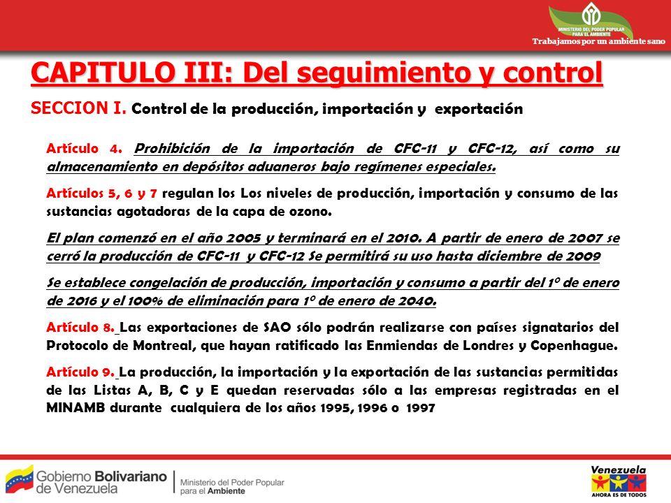 Trabajamos por un ambiente sano CAPITULO III: Del seguimiento y control SECCION I. Control de la producción, importación y exportación Artículo 4. Pro
