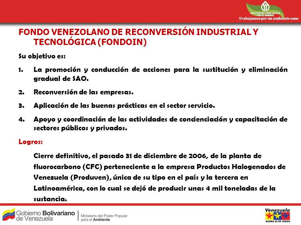 Trabajamos por un ambiente sano FONDO VENEZOLANO DE RECONVERSIÓN INDUSTRIAL Y TECNOLÓGICA (FONDOIN) Su objetivo es: 1.La promoción y conducción de acc