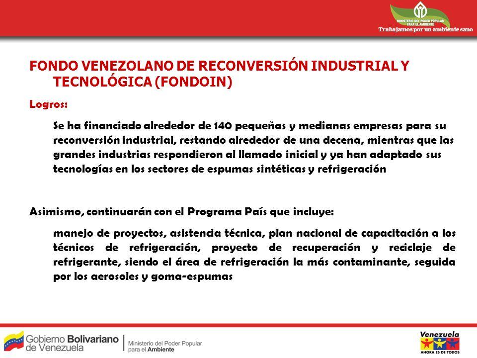 Trabajamos por un ambiente sano FONDO VENEZOLANO DE RECONVERSIÓN INDUSTRIAL Y TECNOLÓGICA (FONDOIN) Logros: Se ha financiado alrededor de 140 pequeñas