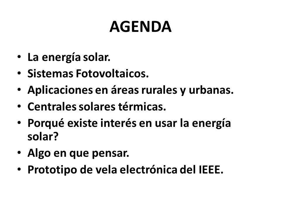 AGENDA La energía solar. Sistemas Fotovoltaicos. Aplicaciones en áreas rurales y urbanas.