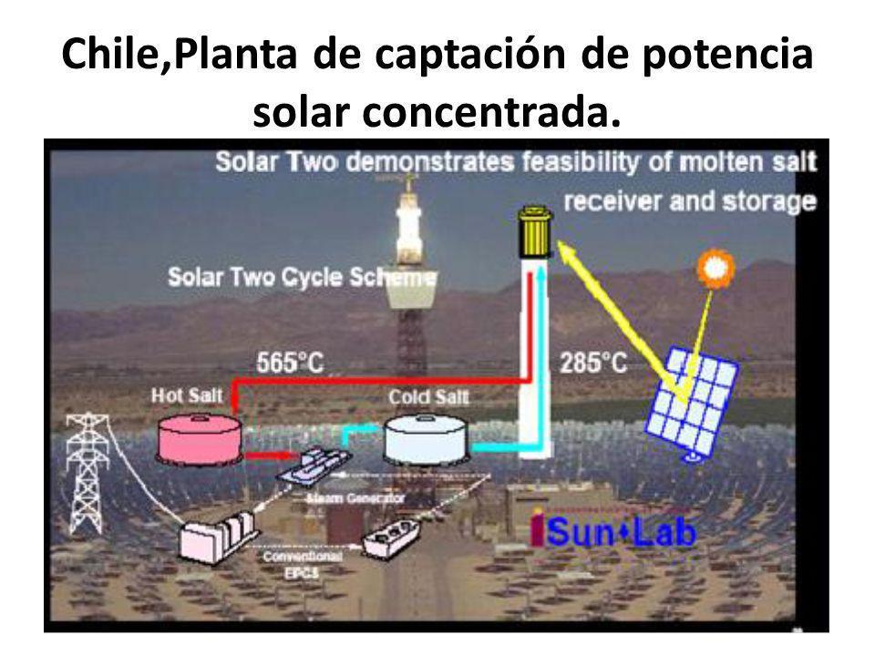 Chile,Planta de captación de potencia solar concentrada.
