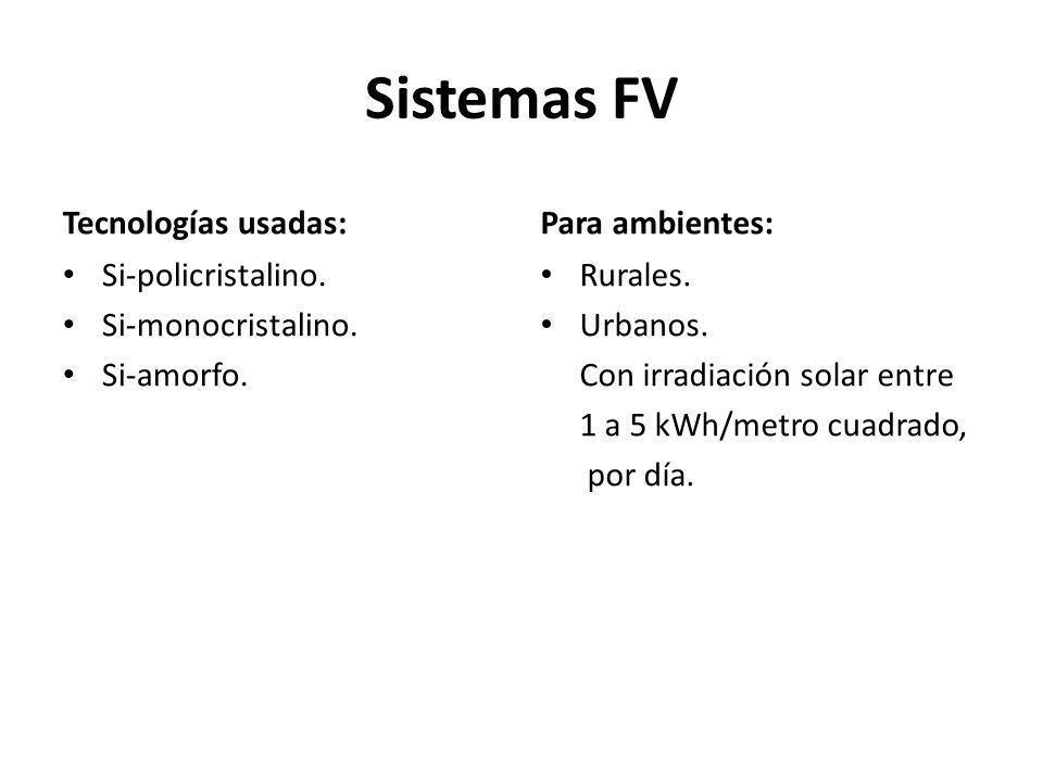 Sistemas FV Tecnologías usadas: Si-policristalino.