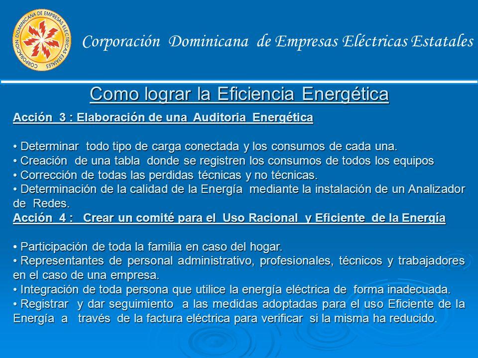 Corporación Dominicana de Empresas Eléctricas Estatales Como lograr la Eficiencia Energética Acción 1 : Evaluar la situación Recopilar estadísticas de todos los consumos de energía de la casa o empresa.