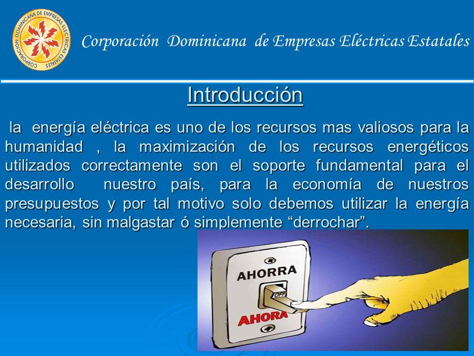 Corporación Dominicana de Empresas Eléctricas Estatales Objetivos Principales 1.Trazarpautas tendentes al ahorro de la energía eléctrica, dentro de las instalaciones comerciales.