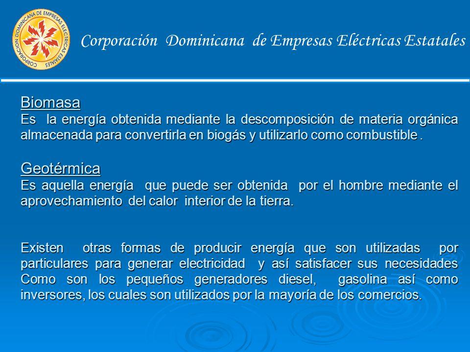 Corporación Dominicana de Empresas Eléctricas Estatales Energía Solar Es la energía obtenida mediante la captación de la luz y el calor emitidos por el Sol para convertirla en energía eléctrica, es otra energía de tipo renovable que tampoco contamina el medio ambiente.