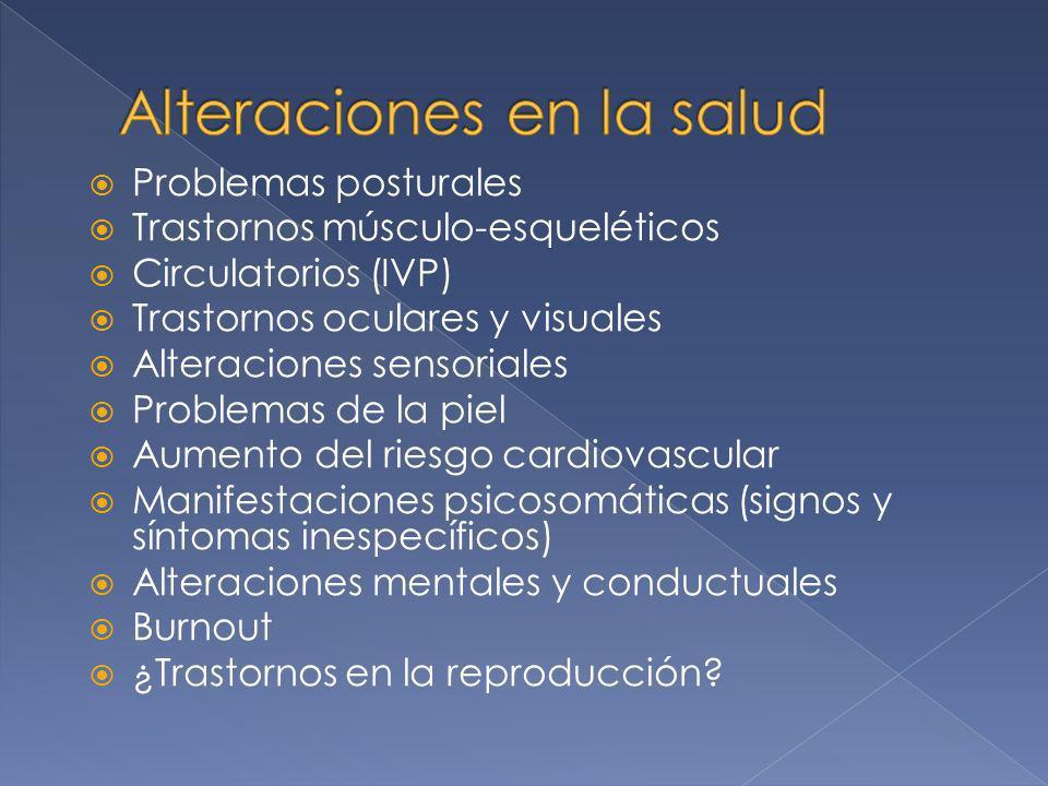 Problemas posturales Trastornos músculo-esqueléticos Circulatorios (IVP) Trastornos oculares y visuales Alteraciones sensoriales Problemas de la piel