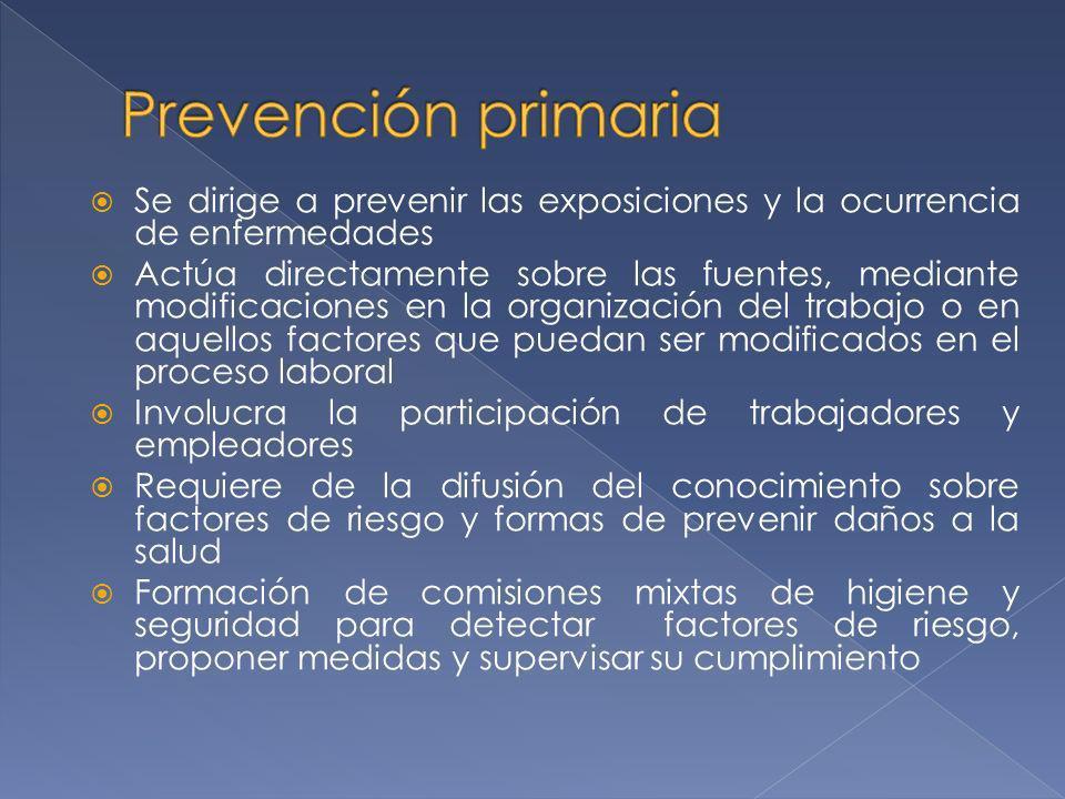 Se dirige a prevenir las exposiciones y la ocurrencia de enfermedades Actúa directamente sobre las fuentes, mediante modificaciones en la organización