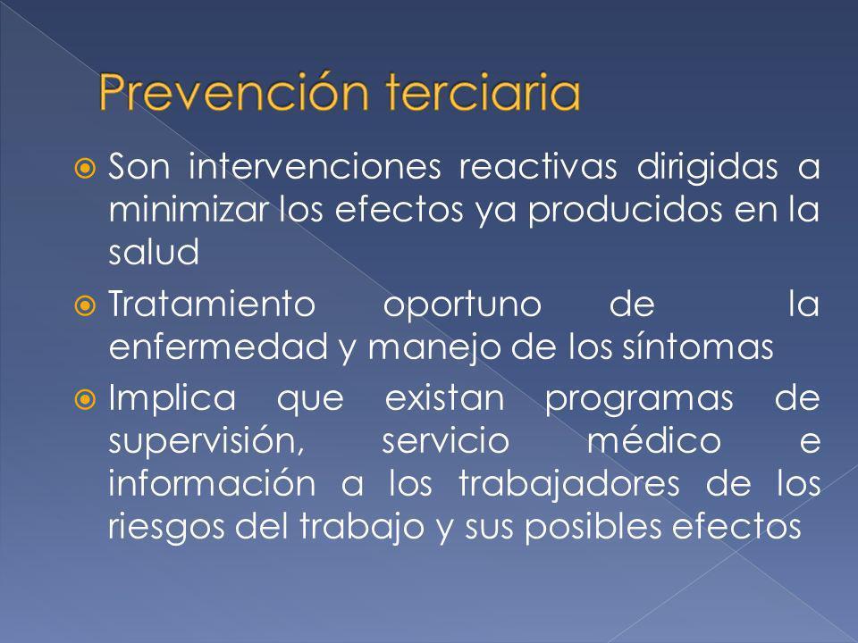 Son intervenciones reactivas dirigidas a minimizar los efectos ya producidos en la salud Tratamiento oportuno de la enfermedad y manejo de los síntoma