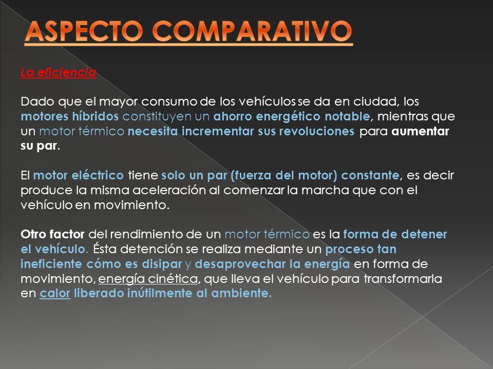 La eficiencia Dado que el mayor consumo de los vehículos se da en ciudad, los motores híbridos constituyen un ahorro energético notable, mientras que