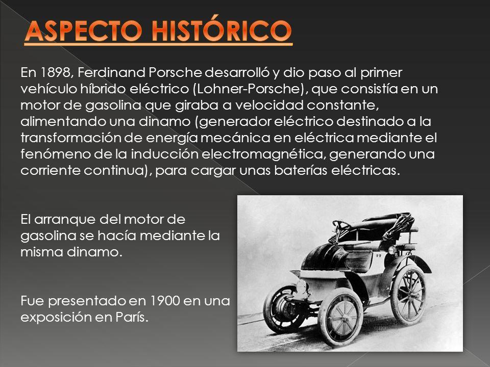 En 1898, Ferdinand Porsche desarrolló y dio paso al primer vehículo híbrido eléctrico (Lohner-Porsche), que consistía en un motor de gasolina que gira