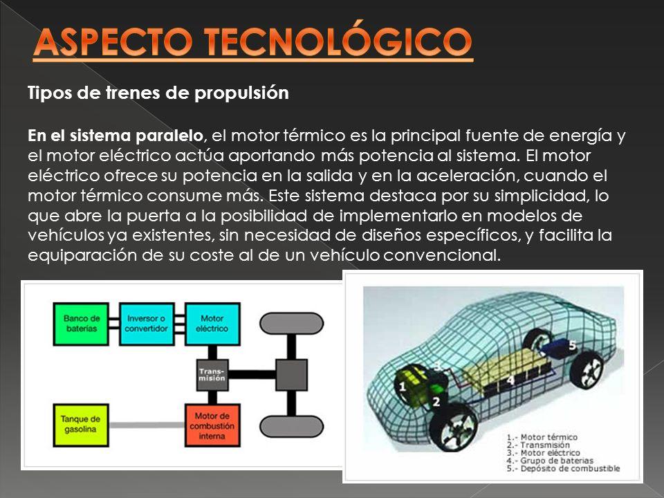 Tipos de trenes de propulsión En el sistema paralelo, el motor térmico es la principal fuente de energía y el motor eléctrico actúa aportando más pote