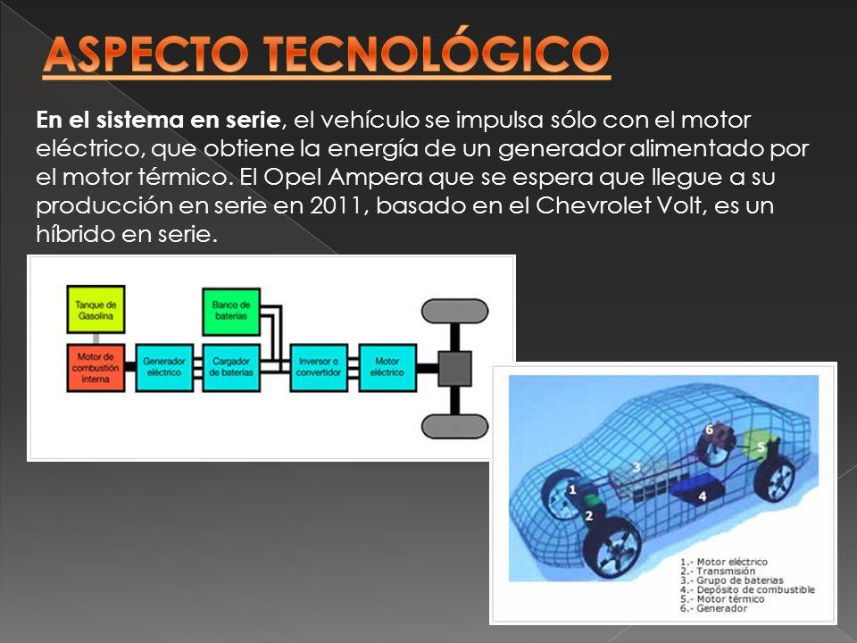 En el sistema en serie, el vehículo se impulsa sólo con el motor eléctrico, que obtiene la energía de un generador alimentado por el motor térmico. El
