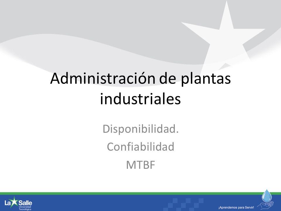 Administración de plantas industriales Disponibilidad. Confiabilidad MTBF