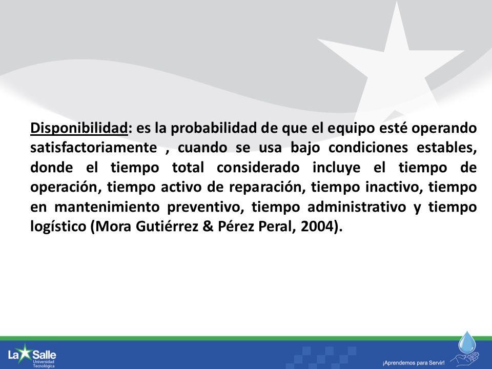 Disponibilidad: es la probabilidad de que el equipo esté operando satisfactoriamente, cuando se usa bajo condiciones estables, donde el tiempo total c