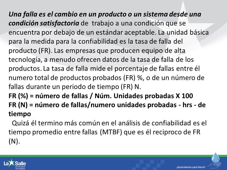 Una falla es el cambio en un producto o un sistema desde una condición satisfactoria de trabajo a una condición que se encuentra por debajo de un está