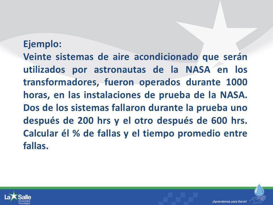 Ejemplo: Veinte sistemas de aire acondicionado que serán utilizados por astronautas de la NASA en los transformadores, fueron operados durante 1000 ho