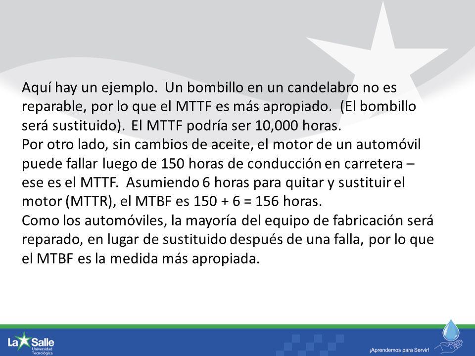 Aquí hay un ejemplo. Un bombillo en un candelabro no es reparable, por lo que el MTTF es más apropiado. (El bombillo será sustituido). El MTTF podría