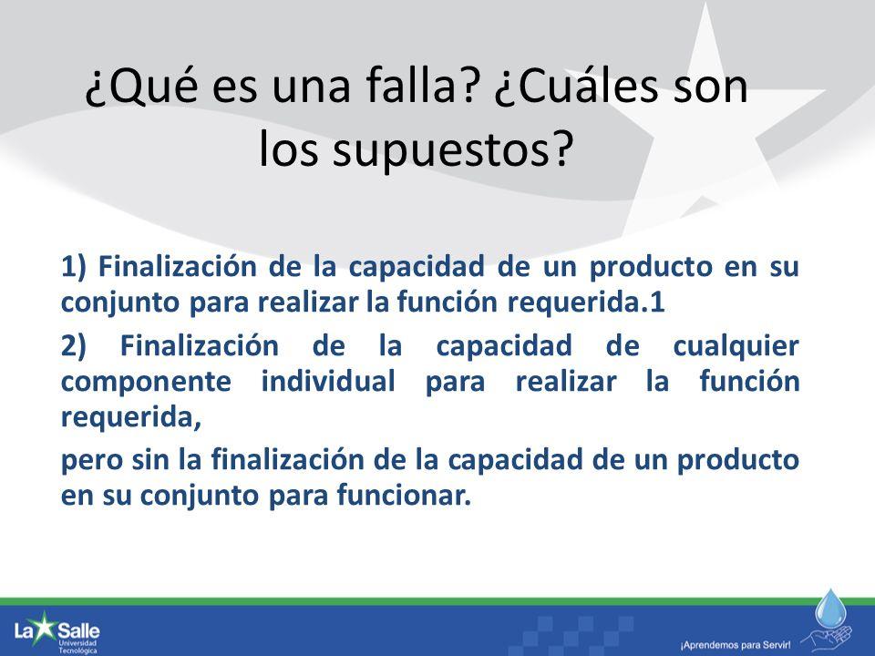 ¿Qué es una falla? ¿Cuáles son los supuestos? 1) Finalización de la capacidad de un producto en su conjunto para realizar la función requerida.1 2) Fi