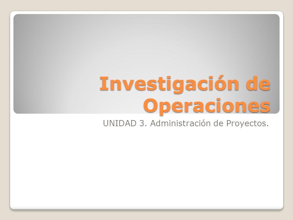 Investigación de Operaciones UNIDAD 3. Administración de Proyectos.