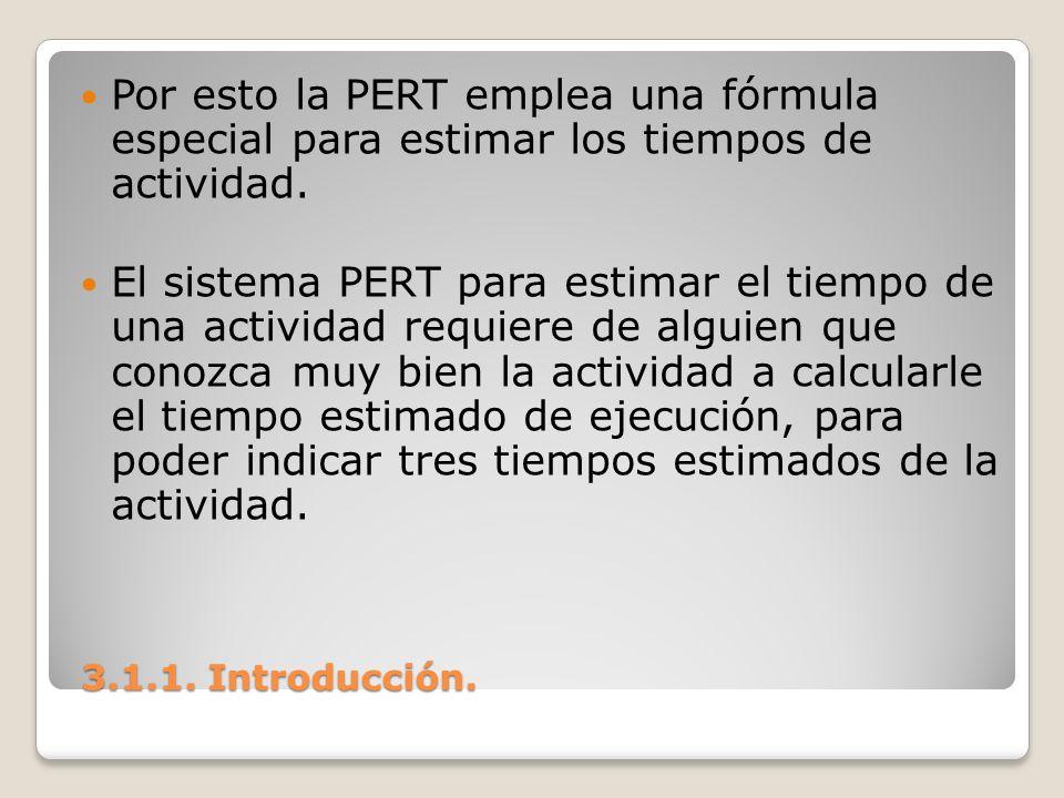 3.1.1. Introducción. 3.1.1. Introducción. Por esto la PERT emplea una fórmula especial para estimar los tiempos de actividad. El sistema PERT para est