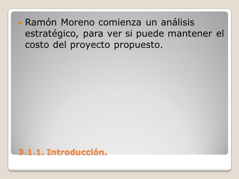 3.1.1. Introducción. 3.1.1. Introducción. Ramón Moreno comienza un análisis estratégico, para ver si puede mantener el costo del proyecto propuesto.