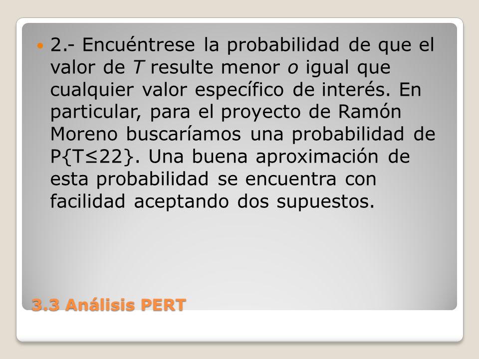 3.3 Análisis PERT 2.- Encuéntrese la probabilidad de que el valor de T resulte menor o igual que cualquier valor específico de interés. En particular,