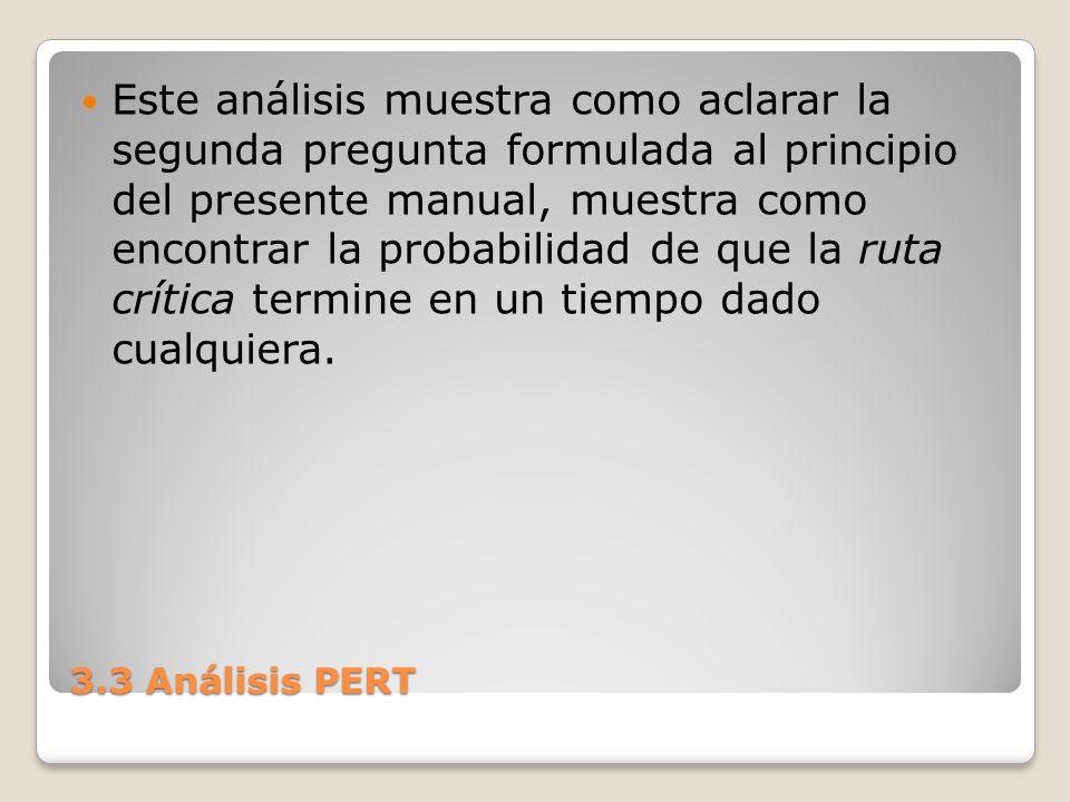 3.3 Análisis PERT Este análisis muestra como aclarar la segunda pregunta formulada al principio del presente manual, muestra como encontrar la probabilidad de que la ruta crítica termine en un tiempo dado cualquiera.