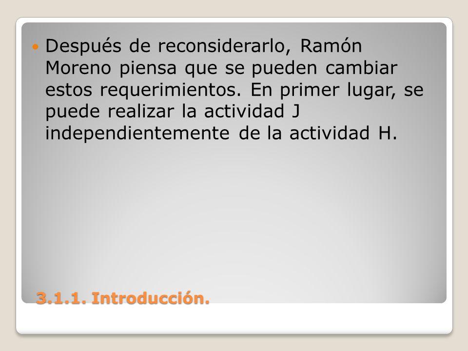 3.1.1. Introducción. 3.1.1. Introducción. Después de reconsiderarlo, Ramón Moreno piensa que se pueden cambiar estos requerimientos. En primer lugar,