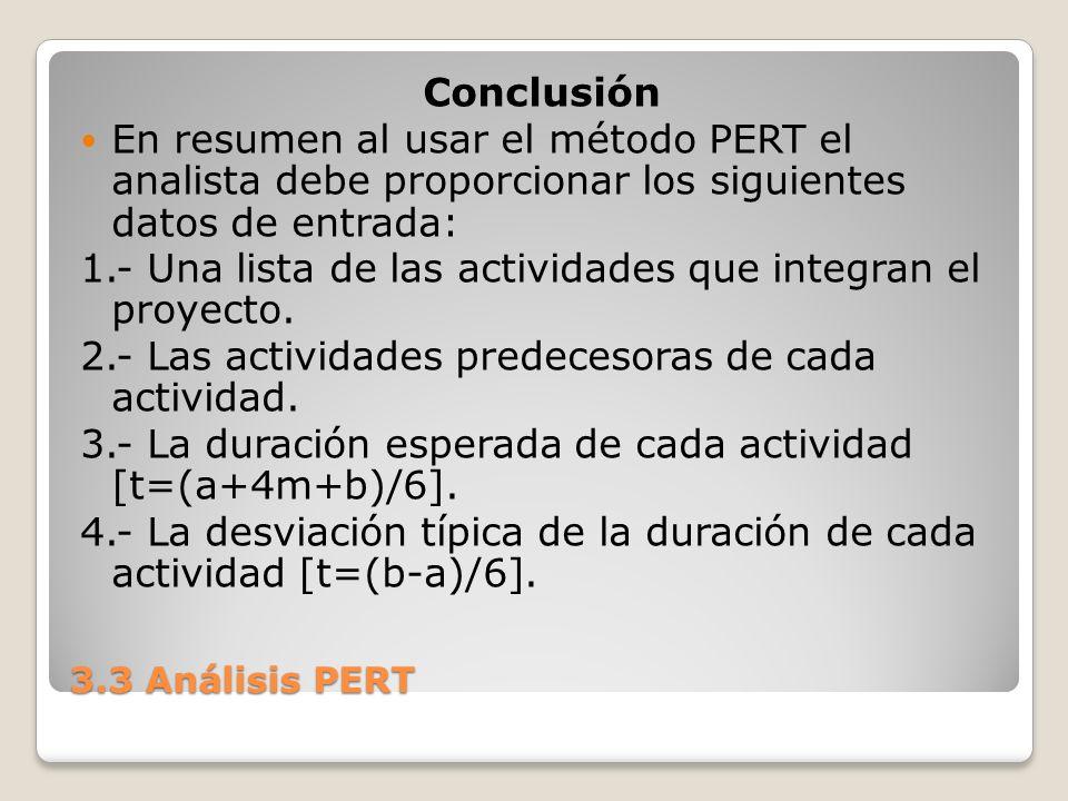 3.3 Análisis PERT Conclusión En resumen al usar el método PERT el analista debe proporcionar los siguientes datos de entrada: 1.- Una lista de las actividades que integran el proyecto.