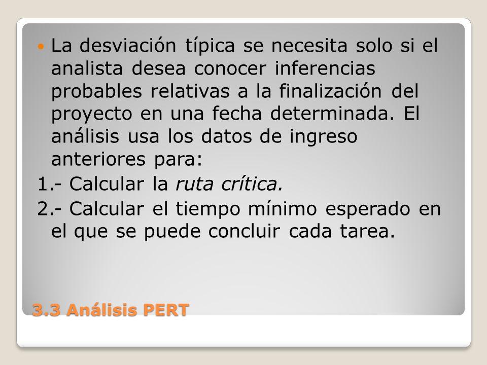 3.3 Análisis PERT La desviación típica se necesita solo si el analista desea conocer inferencias probables relativas a la finalización del proyecto en una fecha determinada.