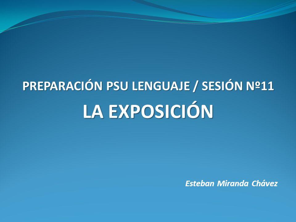 Esteban Miranda Chávez PREPARACIÓN PSU LENGUAJE / SESIÓN Nº11 LA EXPOSICIÓN