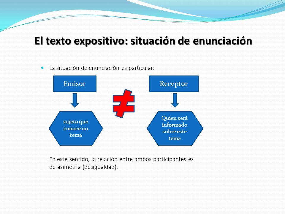 El texto expositivo: situación de enunciación La situación de enunciación es particular: En este sentido, la relación entre ambos participantes es de asimetría (desigualdad).