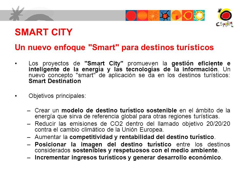 SMART CITY Un nuevo enfoque Smart para destinos turísticos Los proyectos de Smart City promueven la gestión eficiente e inteligente de la energía y las tecnologías de la información.