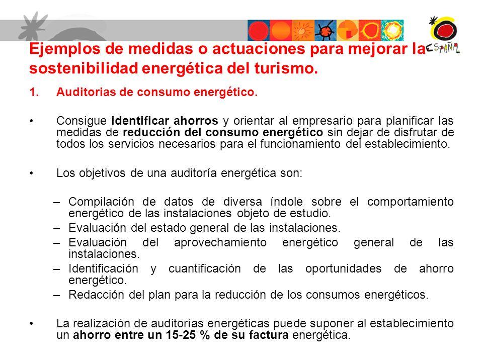 Ejemplos de medidas o actuaciones para mejorar la sostenibilidad energética del turismo. 1.Auditorias de consumo energético. Consigue identificar ahor