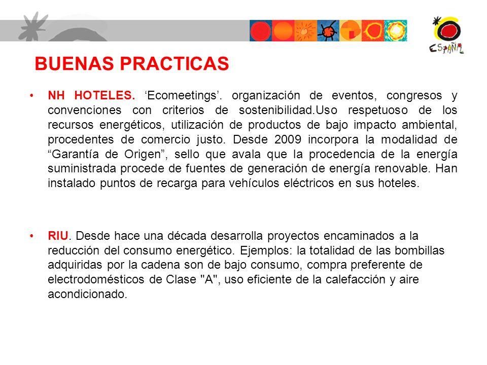 BUENAS PRACTICAS NH HOTELES. Ecomeetings. organización de eventos, congresos y convenciones con criterios de sostenibilidad.Uso respetuoso de los recu
