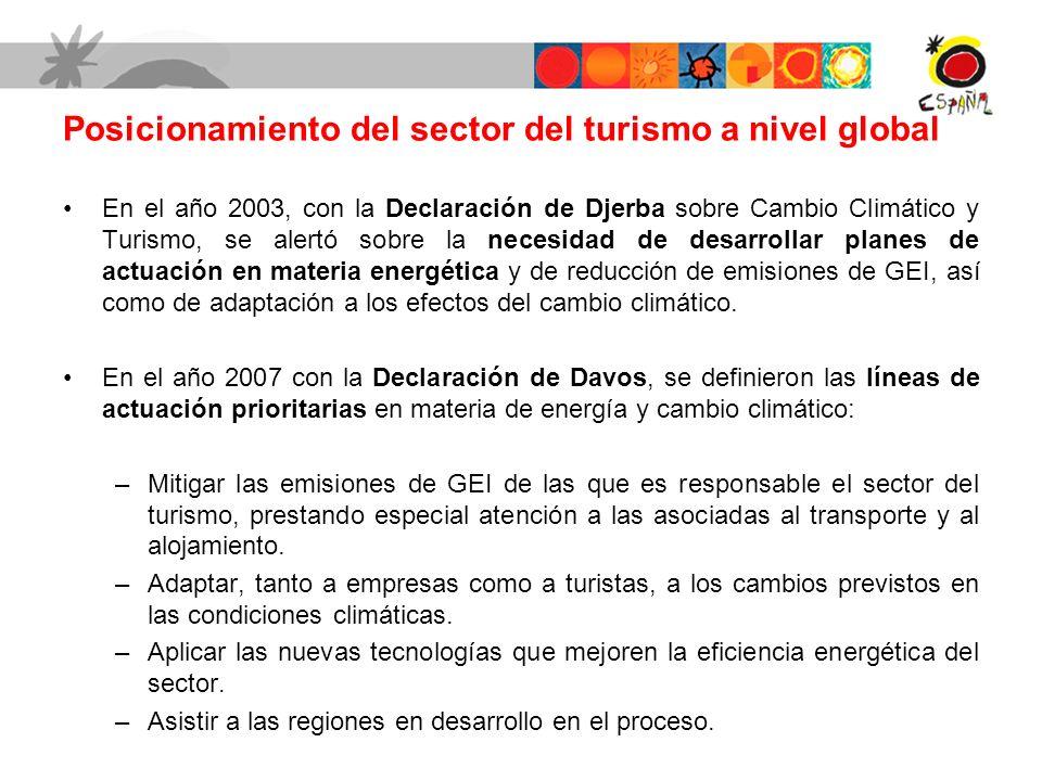 En el año 2003, con la Declaración de Djerba sobre Cambio Climático y Turismo, se alertó sobre la necesidad de desarrollar planes de actuación en materia energética y de reducción de emisiones de GEI, así como de adaptación a los efectos del cambio climático.